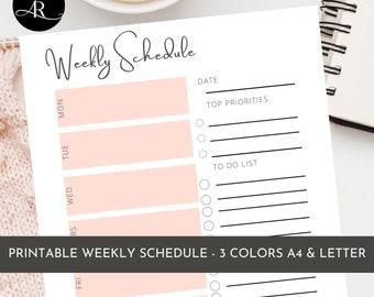Weekly Planner  | Weekly Schedule  |  Printable  |  Weekly Organizer | Editable | Planner | To-Do List  | Work Planner | Life Planner