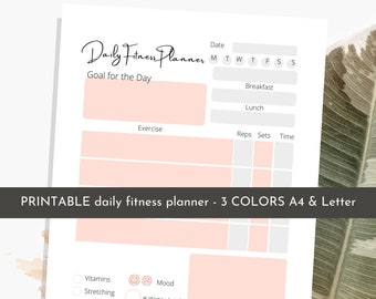 Fitness Planner Printable | Workout Planner | Fitness Journal | Weight loss tracker | Daily Workout planner | Exercise Log | Editable
