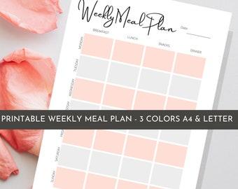 Printable Menu Planner | Editable Meal Planner | Food Journal Planner | Weekly Meal Plan | Minimalist Meal Planner | Healthy Meal plan