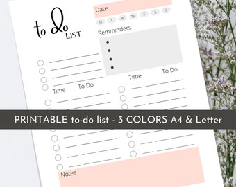 Editable Daily Planner | Printable | To Do List | Productivity Day Planner | Work Day Diary
