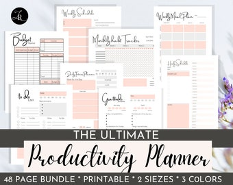 The Ultimate Productivity Planner Bundle | Get 8 Printable Templates: Hourly, Daily, Weekly Planners | Habit, Gratitude, Fitness, Meal Plan