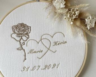 Embroidered tambourine personalized wedding bapteme anniversary ceremony