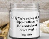 Candles that say funny things — gift for women, sisters,mom —personalized mini funny sayings from your little sister
