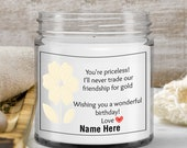 Birth flower birthday gift personalized candle – friendship gift ideas