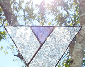 Victorian- stained glass large triangle suncatcher