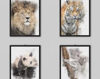 Endangered Animals Watercolour Painting Portrait Prints   Lion Tiger Giraffe Elephant Rhino Panda Orangutan Koala   Home Decor Wall Art