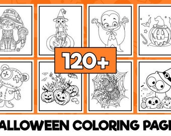 120+ Halloween Coloring Pages   Kids & Adults   Digital Download   Printable and Reusable