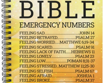 Bible Emergency Numbers Lined Notebook Sermon Notes | Notebook for Church | Church notes | Sermon Journal | Sermon Notebook | Gifts