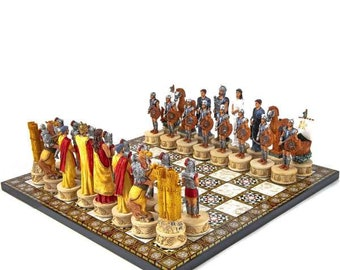 Chess Set With Spartan-Trojan Warrior Characters