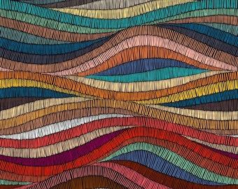 Italian Velvet Wavy Bohemian Patchwork, Digital Print, Italian Velvet, Upholstery Fabric, Designer Fabric, Home Decor Fabric