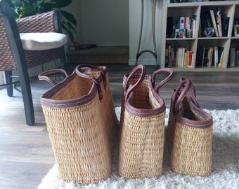 REED BASKETS with fine leather handles- Portuguese bag, straw bag, summer bag, market basket