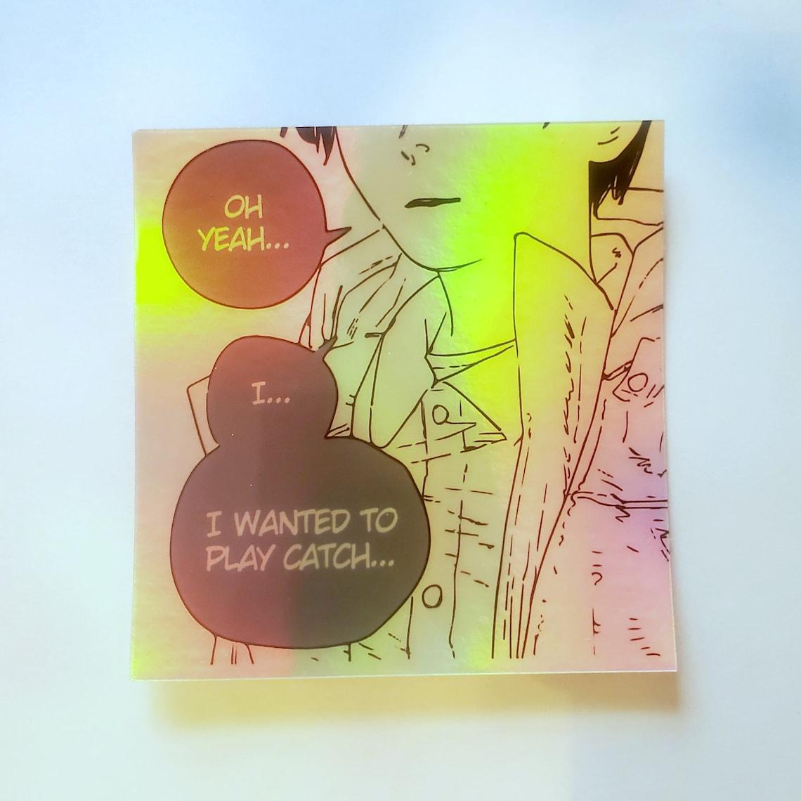 aki hayakawa chainsaw holographic sticker 3in x 3in etsy