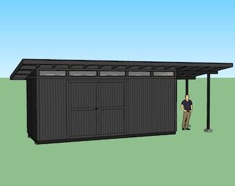 Modern Shed Plans - 3D Sketchup Model (blueprints)
