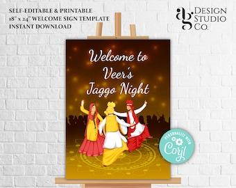 Jaggo Night poster, Welcome Jago Night signs, Jago Party Signs & Jaggo Sign, Punjabi Welcome Signs Jaggo Party for Welcome to Jaggo signages