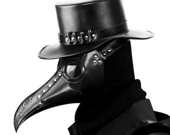 Leather Plague Doctor Mask, Black Plague Doctor Masks, Steampunk Cosplay Costume/Halloween Party, Black bird mask animal halloween