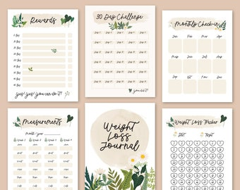 14 Pages Weight Loss Journal 100 lbs/kg Loss Tracker Chart Fitness & Self Care Pound Lost Planner Printable Journal Insert- Digital Download