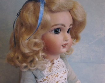 Lettie Dark Blonde Daisy style mohair wig for antique French German bisque doll