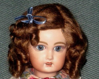 Daisy Light Brown mohair wig for antique French German bisque doll