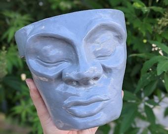 Mystic Pot Head (5.5 inches tall) handmade planter (garden decor, home decor, fairy garden)