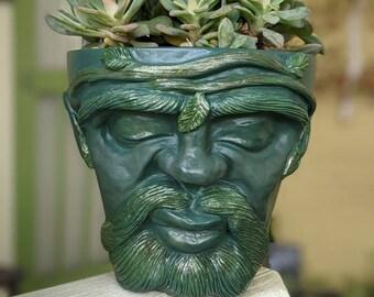 Mystic Pot Head (8 inches tall) handmade planter (garden decor, home decor, fairy garden, secret garden,