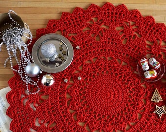 Red Christmas doily 22 inch, Christmas table decoration, Red round cotton crochet doily, Christmas table centerpiece, Christmas boho decor.