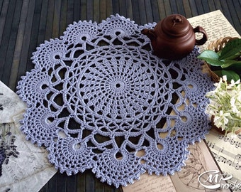 Lilac blue crochet round doily 17 inches, vintage crochet table centerpiece, blue boho style doily living room decor, rustic home decor lace