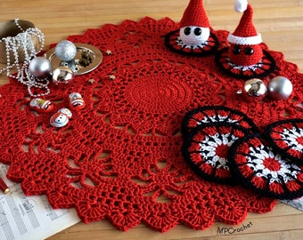 Christmas decoration set, Red Christmas doily 22 inch, Six Red and white Christmas coasters, Snowman and Santa Claus mini dolls.