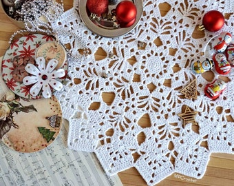 White Christmas doily 17 inch, Eco friendly lace white doily, White star Christmas crochet centerpiece, Chrismtas table white decoration
