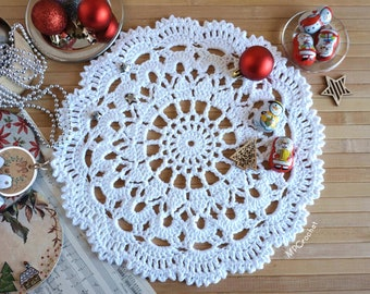 Small white Christmas doily 12 inches, Little white cotton doily boho style, Round crochet place mat, Christmas white table ornament