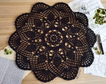 Halloween decor, Black crochet doily 21 inch, Eco friendly black table centerpiece, Bohemian crochet doily, Lacy cottage black home decor