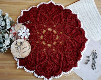Red Christmas doily 22 inch, Christmas table decoration, Crochet doily Christmas table centerpiece, Boho table cover, Placemat gift for her