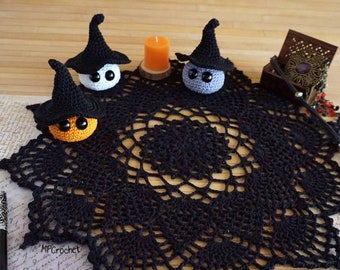 Halloween black crochet doily 18 inch, Eco friendly black table centerpiece, Halloween doily three little witches set, Halloween decor idea.