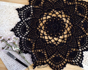 Black crochet doily 18 inch, Eco friendly black table centerpiece, Bohemian crochet doily Lacy cottage black home decor Halloween decor idea