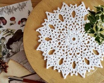 White cotton crochet doily 11 inch, French romantic lacy crochet table decor, Guest room decor doily, White wedding small doily