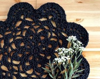 Crochet black flower doily 18 inches, t-shirt yarn black doily tablecloth, black home decor accent, black table decor