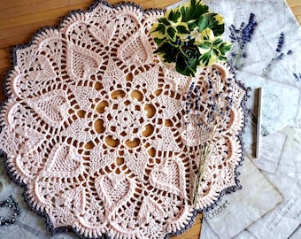Sweet pale pink hearts crochet doily 18 inch, Baby room lace crochet doily, Textured hearts eco friendly doily, Soft beautiful love gift