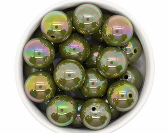 Army Green Iridescent Beads 20mm