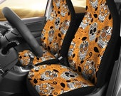 Skull car seat covers, Orange Sugar Skull Gifts for front seat covers,Customized car seats,Upholstery briefcases.
