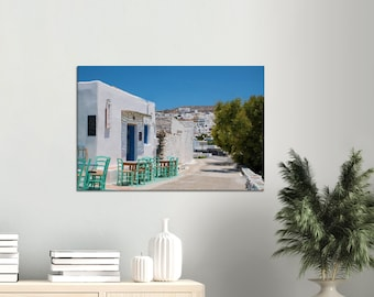 """Canvas """"Amorgos Village Life""""-- Paper and wood are from sustainably managed forests, the paint is eco-friendly."""