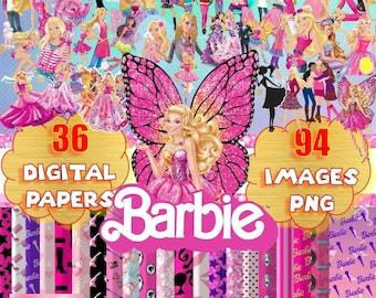 digital paper, barbie, cliparts, PNG images, doll, princess, girl, instant donwload