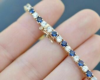 5.00 Ct Blue Sapphire & Diamond Women's Tennis Bracelet With 14k Yellow Gold Over