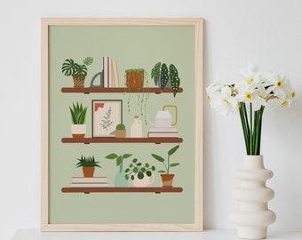 Plant Shelf Wall Art, Plant Art Print, Indoor Plants Illustration, Pastel Green Wall Art, Potted Plant Wall Art, Neutral Boho Prints