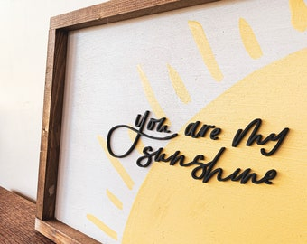 You Are My Sunshine Laser Cut Hand Lettered Nursery Sign