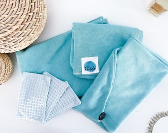 Wellness and hair care gift set / turban towel, wash pads and two jersey towels