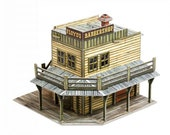 3D DIY Cardboard Paper Wild West Barbershop, Pre-cut Unassembled Cardboard Building House Toy Kit Model Puzzle for kids, children, adults