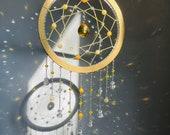 Yellow crystal dreamcatcher suncatcher- sacral chakra, crystal suncatcher, sun dreamcatcher, beaded dreamcatcher, feng shui decor, boho