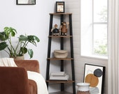 Industrial Corner Shelf, 4-Tier Bookcase, Storage Rack, Plant Stand for Home Office