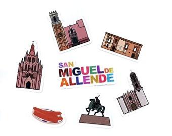 Pack Of 7 Decals Of San Miguel De Allende, Guanajuato