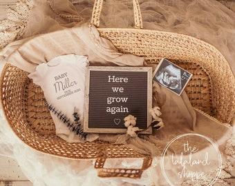 Pregnancy Announcement, Here we grow again, Editable Digital Gender Neutral Baby Announcement, Social Media Image, Custom Birth Announcement