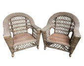 large wood wicker club chair - a pair